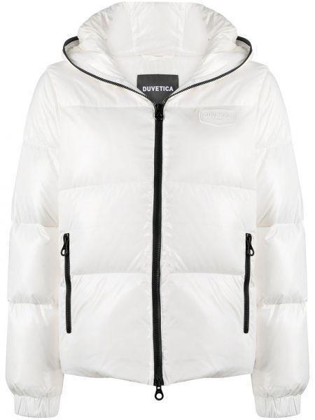 Пуховая белая длинная куртка с капюшоном Duvetica