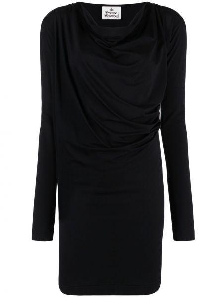 Черное платье мини с длинными рукавами с драпировкой Vivienne Westwood