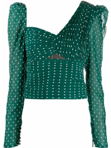 Зеленая приталенная длинная блузка Self-portrait