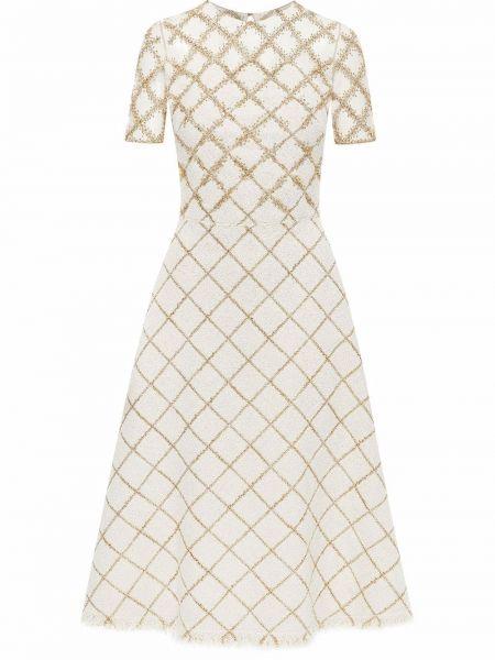 Шерстяное платье миди - белое Oscar De La Renta