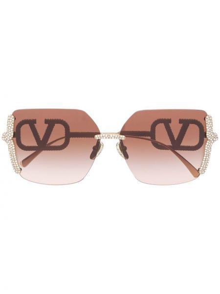 Солнцезащитные очки металлические хаки оверсайз для полных Valentino Eyewear