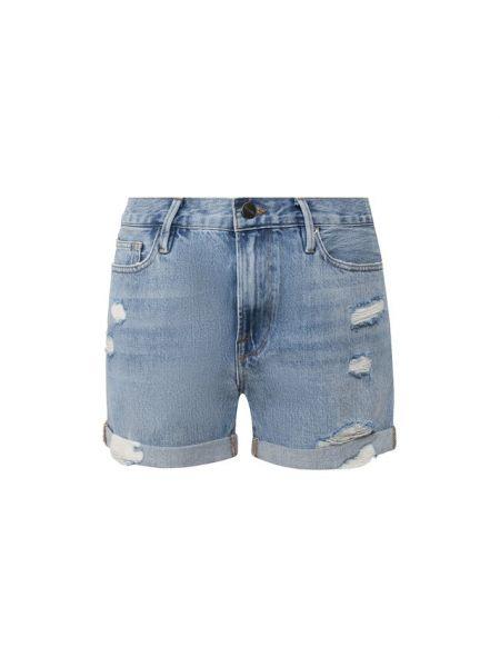 Хлопковые синие джинсовые шорты со стразами Frame Denim