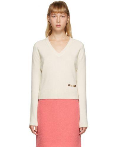 Белый кашемировый длинный свитер с V-образным вырезом Gucci