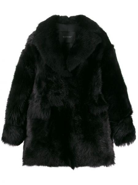 Черное длинное пальто с капюшоном с воротником Blancha