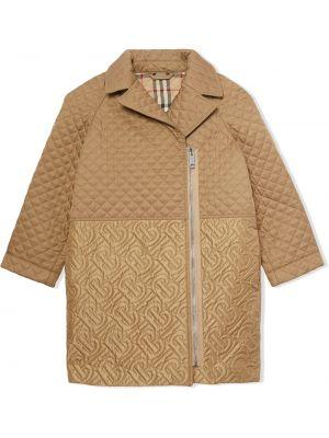 Коричневое стеганое длинное пальто с длинными рукавами Burberry Kids