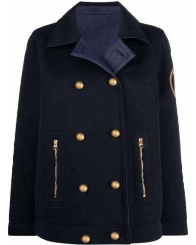 Синий классический пиджак двубортный с нашивками Ermanno Ermanno