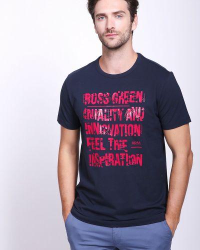 Красная с рукавами футболка с надписью Boss Green