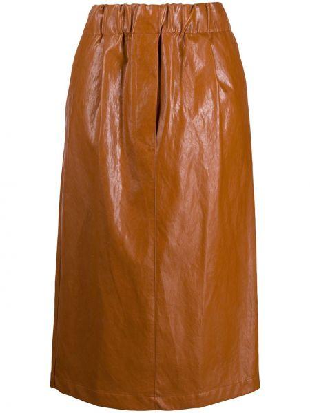 Коричневая кожаная с завышенной талией юбка миди с поясом Jejia