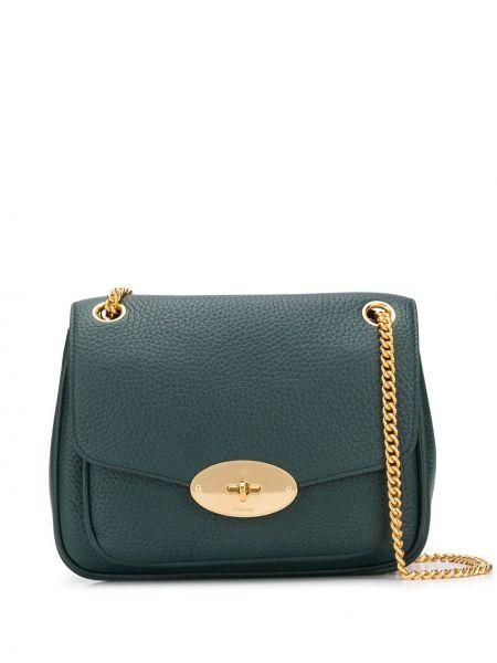 Zielona torebka na łańcuszku skórzana Mulberry