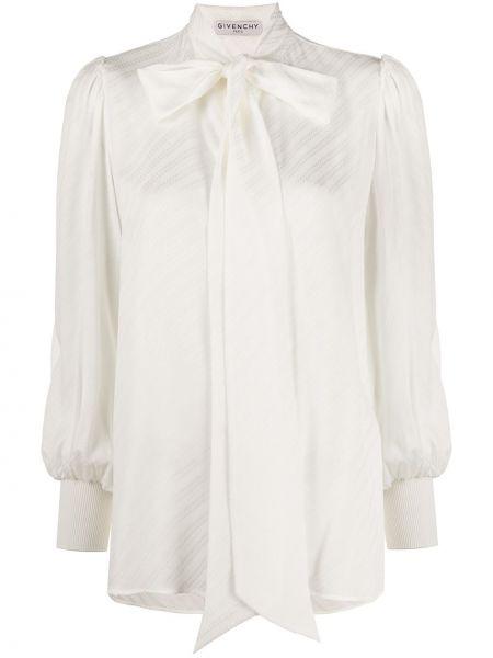Z rękawami biały jedwab bluzka z mankietami Givenchy