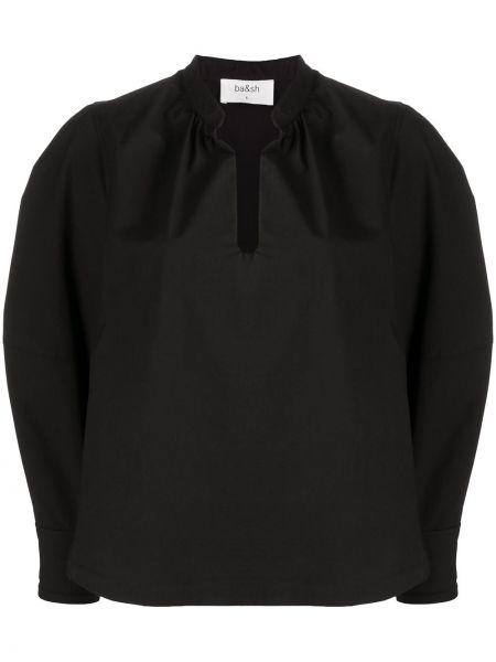 Прямая черная с рукавами блузка Ba&sh