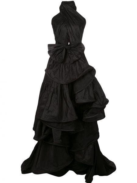 Платье с открытой спиной в рубчик Oscar De La Renta