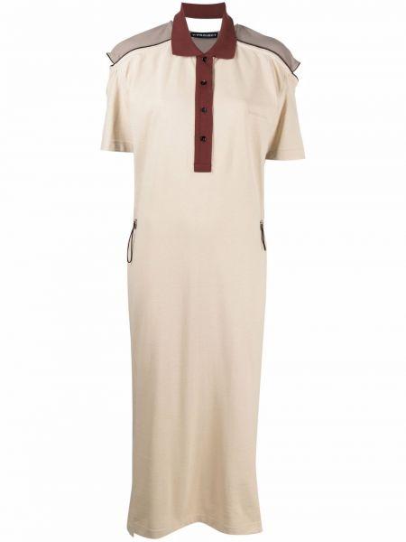 Хлопковое платье миди с короткими рукавами с воротником Y Project