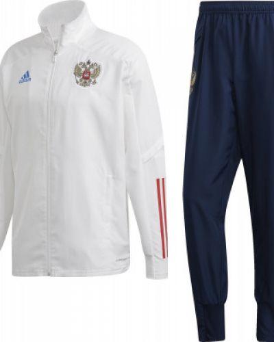 Зауженный футбольный белый спортивный костюм Adidas