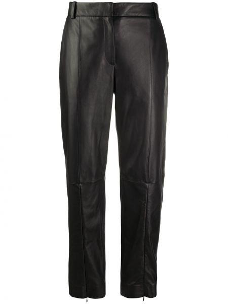 Bawełna spodni czarny przycięte spodnie z paskiem Mm6 Maison Margiela