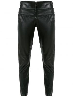 Облегающие черные кожаные леггинсы Andrea Bogosian