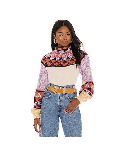 Акриловый бежевый свитер с воротником Free People