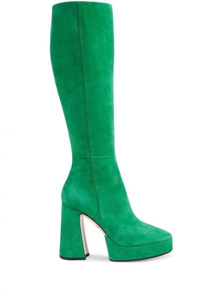 Zielony buty na platformie w połowie kolana z ostrym nosem na platformie Gucci
