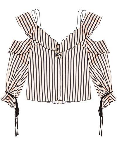 Блузка в полоску с декольте Self-portrait