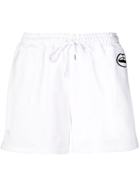 Хлопковые белые шорты с пайетками Markus Lupfer