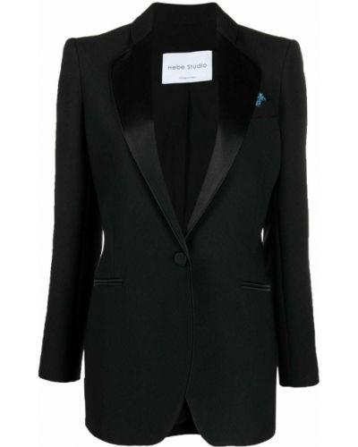 Черный удлиненный пиджак с карманами на пуговицах Hebe Studio