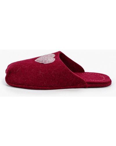 Текстильные красные домашние тапочки котофей