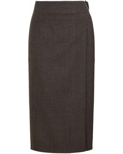 Шерстяная юбка миди - серая Balenciaga