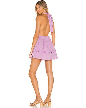 Фиолетовое платье мини на пуговицах с воротником свободного кроя Free People