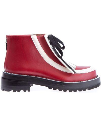 Ботинки на шнуровке кожаные на тракторной подошве Marni