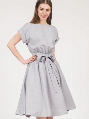 Платье миди серое оливковый Olivegrey