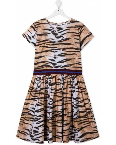 Расклешенное платье с рукавами с вырезом круглое на молнии Molo
