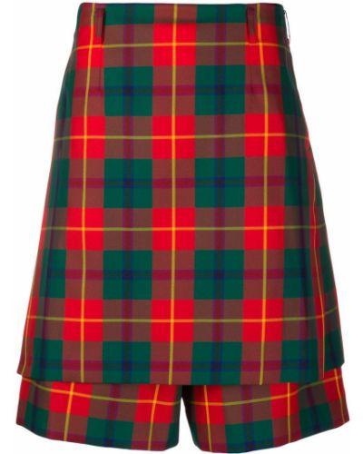 Красная кожаная юбка-шорты в клетку Comme Des Garçons Homme Plus