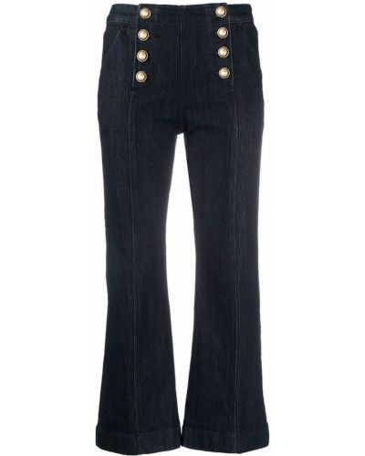 Хлопковые синие укороченные брюки с накладными карманами Michael Kors