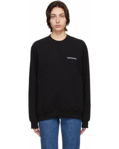 Czarna bluza długa z długimi rękawami bawełniana Saintwoods