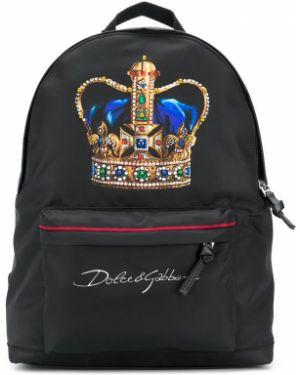 Черный рюкзак на бретелях с карманами на молнии Dolce & Gabbana Kids