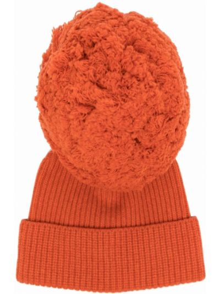 Кашемировая оранжевая шапка бини Alberta Ferretti