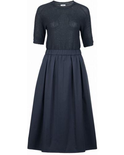 Платье миди синее с декоративной отделкой Peserico