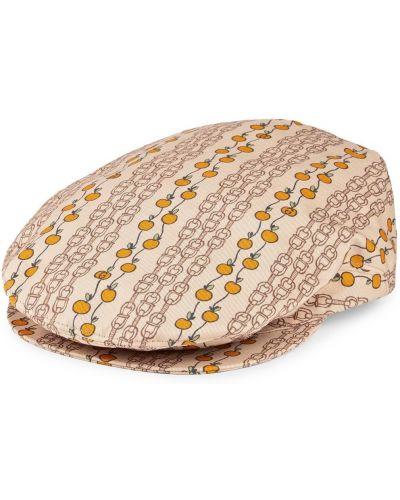 Beżowa czapka bawełniana z printem Gucci