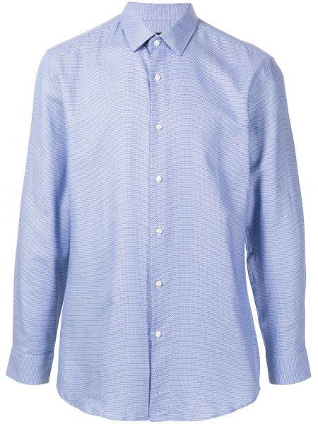 Niebieski bawełna z rękawami klasyczna koszula Boss