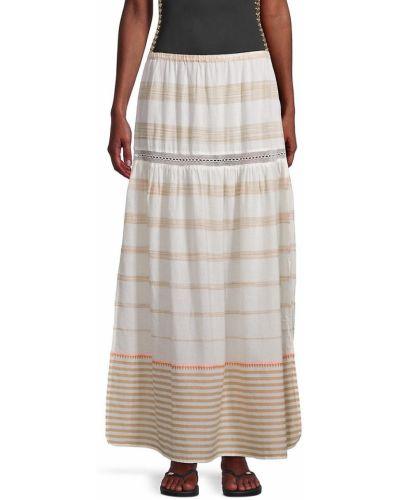 Ажурная хлопковая юбка макси в полоску Pilyq