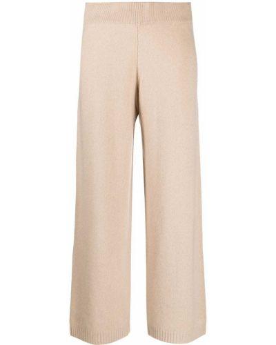 Шерстяные бежевые вязаные укороченные брюки Luisa Cerano