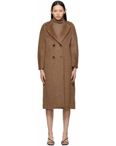 Czarny płaszcz dwurzędowy wełniany S Max Mara