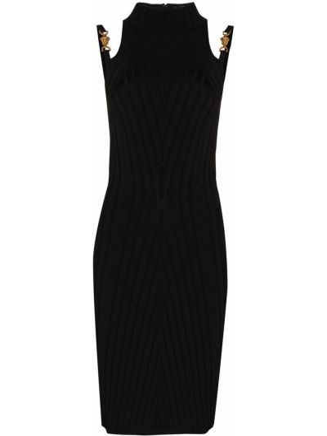Приталенное платье миди - черное Versace