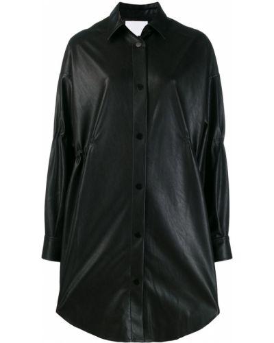 Черное кожаное длинное пальто с воротником Lala Berlin