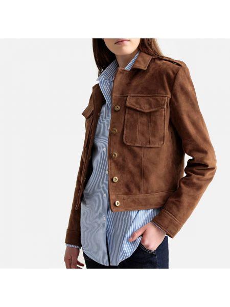 Кожаная куртка джинсовая на пуговицах La Redoute Collections