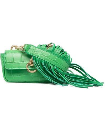 Зеленая кожаная маленькая сумка с бахромой Pinko