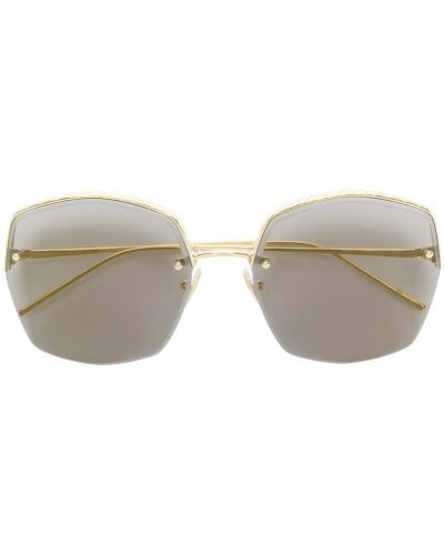 Солнцезащитные очки квадратные металлические хаки Boucheron Eyewear