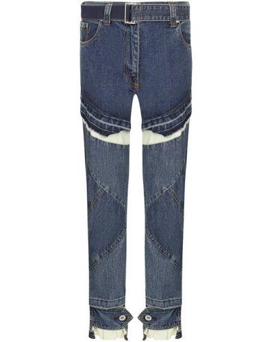 Укороченные джинсы синие Sacai