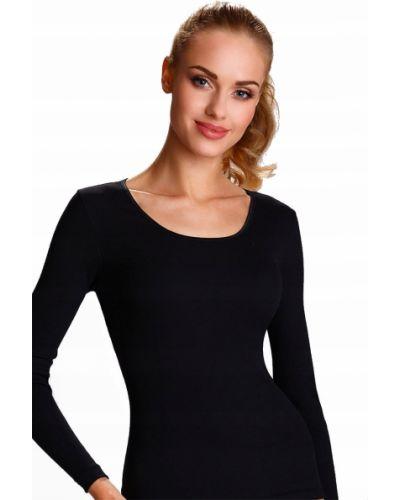 Czarna bluzka z długimi rękawami bawełniana Eldar