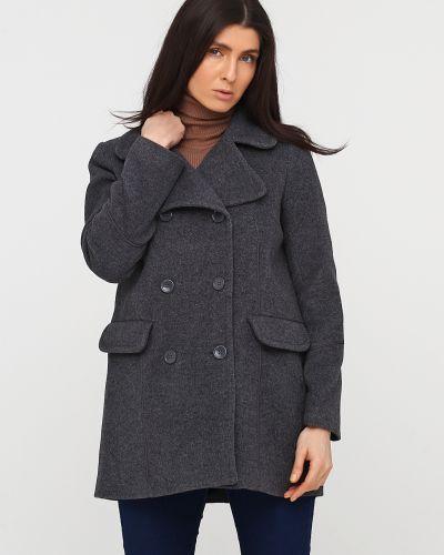Серое пальто на пуговицах с подкладкой Kookai